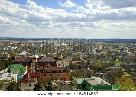 Aerial view at Pochayev town in the Ternopil Oblast (province) of western Ukraine