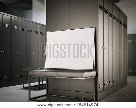 White poster on a bench in modern dark locker room. 3d rendering