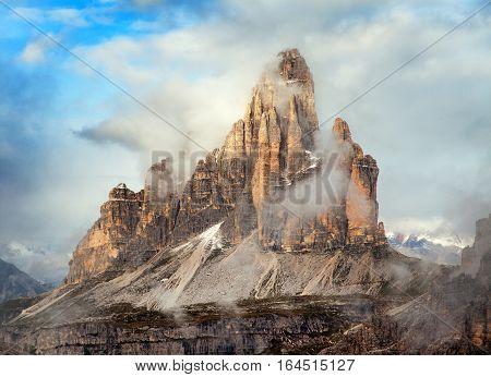 Morning view of Drei Zinnen or Tre Cime di Lavaredo with beautiful cloudy sky Sextener Dolomiten or Dolomiti di Sesto South Tirol Dolomites mountains view Italian Alps