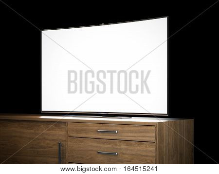 Tv with blank screen on a wooden bureau. 3d rendering