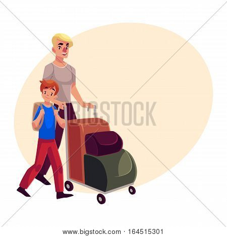 Young man pushing airport luggage trolley with his son cartoon illustration on background with place for text. Young father and son going on vacation in the airport