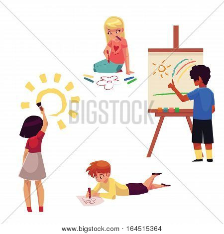 Kids drawing with pencils, crayons, paints, fingers, cartoon vector illustration isolated on white background. Set of kids, boys and girls, drawing in different positions - standing, sitting, lying