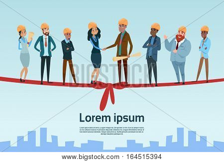 Builder Team Architect Mix Race Workers Hand Shake Project Opening Flat Vector Illustration