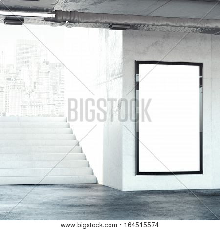 Stairway with big blank billboard. 3d rendering