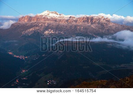 Evening or night view of Sella gruppe Alps Dolomites Mountains Italy