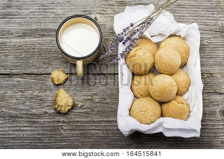 Homemade biscuits from unleavened dough with sour cream. The concept of healthy family nutrition. Top view. Flat lay