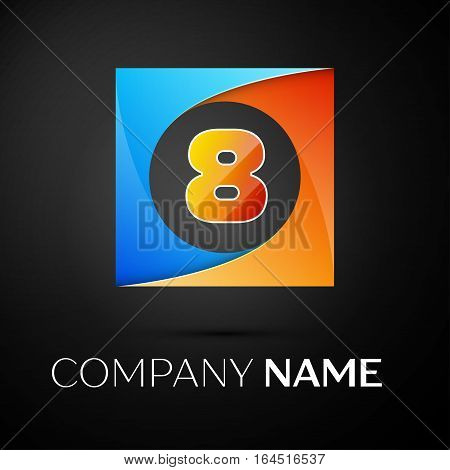 Number eight vector logo symbol in the colorful square on black background. Vector template for your design