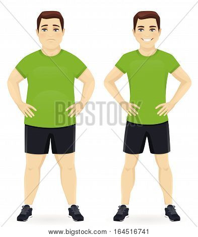 Fat and slim man before and after weight loss in sportswear isolated
