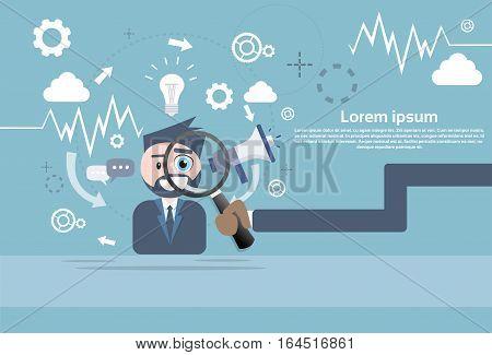 Businessman Hand Hold Magnifying Glass Analysis Megaphone Digital Marketing Flat Vector Illustration