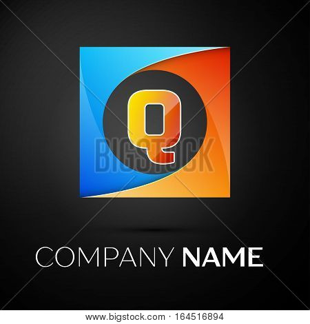 Letter Q vector logo symbol in the colorful square on black background. Vector template for your design