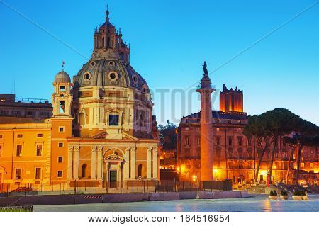Santa Maria di Loreto church and Colonna Traiana in Rome Italy