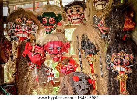 The mask of god for dancing or art performance culture in souvenir shop at Bali Indonesia
