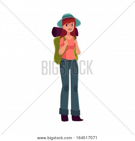 Young pretty girl travelling, hitch hiking with backpack, cartoon illustration isolated on white background. Woman, girl, backpacker, hitchhiker with a backpack and sleeping bag, arriving or departing