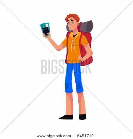 Young traveler, backpacker, hitchhiker standing and holding tickets and passport, cartoon illustration isolated on white background. Young man with backpack, passport and tickets ready for flight