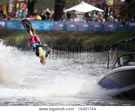 MELBOURNE, AUSTRALIA - MARCH 8: Tim Bradstreet of Australia in the trick event at the Moomba Masters on March 8, 2010 in Melbourne, Australia