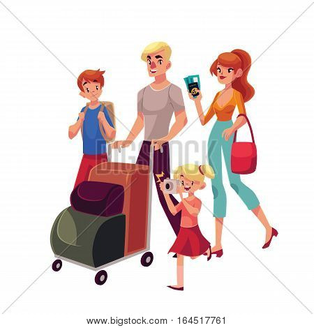Family of four in the airport, father pushing cart with luggage, mother holding tickets, little girl making photos, cartoon illustration isolated on white background. Family travelling with luggage