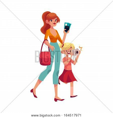 Young beautiful woman going on vacation with her daughter holding camera, passes and passport, cartoon illustration isolated on white background. Full length portrait of young mother and daughter