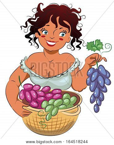 Gather grapes. Isolated on white background, vector illustration