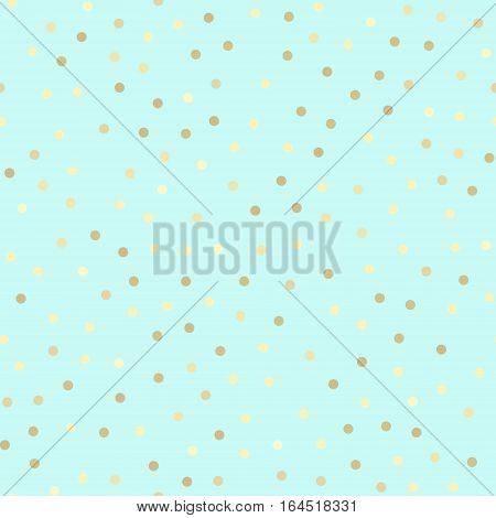 Golden glitter dots abstract mint blue background. Seamless vector pattern. Shiny holiday background. Golden circles pattern on turquoise blue. Gold metal foil background.