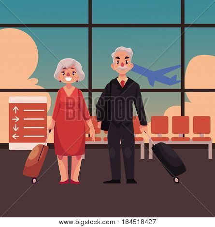 Old couple of man and woman with suitcases in airport terminal interior with a view of airplane. Full length portrait of old lady and gentleman, senior man and woman travelling together