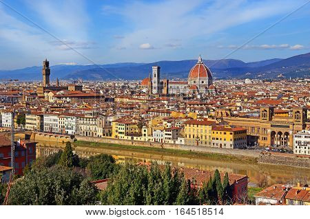panoramic view of old Florence from Piazzale Michelangelo on the outskirts of the city on a bright sunny day, Tuscany, Italy