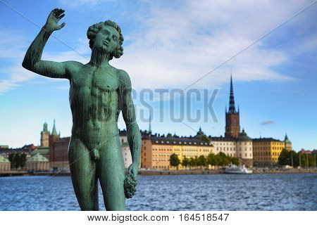 Song statue Stadshuset and View of Gamla Stan in Stockholm Sweden