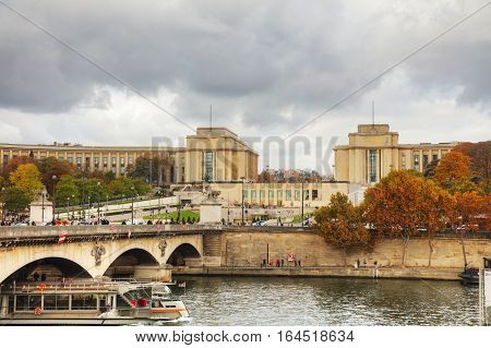 PARIS - NOVEMBER 2: Trocadero crowded with tourists on November 2 2016 in Paris France.
