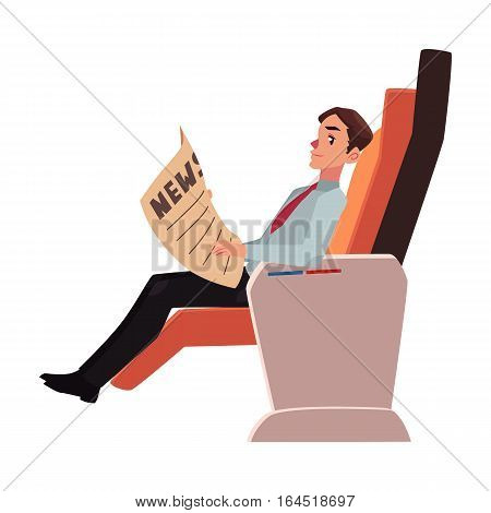 Businessman reading newspaper in business class airplane seat, cartoon vector illustration on white background. Male passenger, business man seating in airplane business class reading newspaper