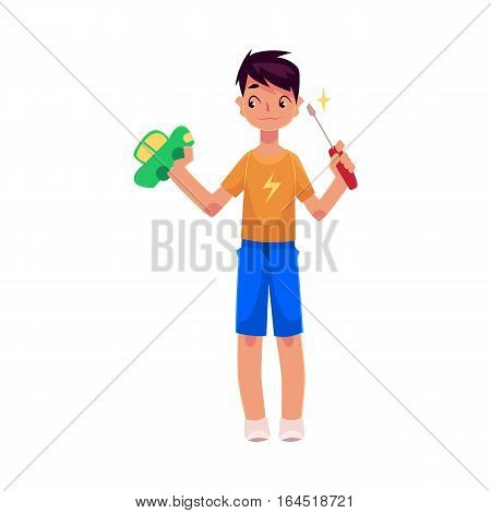 Teenage boy holding screwdriver, trying to fix, repair a toy car, cartoon vector illustration on white background. Full length portrait of boy holding screwdriver and a toy car, repair concept