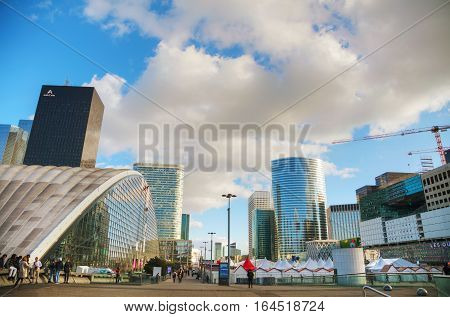 PARIS - NOVEMBER 2: La Defense business district on November 2 2016 in Paris France.
