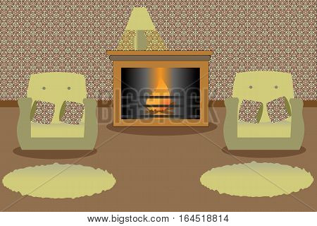 Living room with fireplace and turned on a lamp on it. Two green armchairs and a carpets.