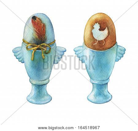 Colored boiled easter egg in blue egg cups (holder). Hand painted watercolor illustration isolated on white background. Traditional symbol of the feast. Light breakfast.