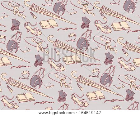 Business-lady, accessory, seamless ornament, vintage background, vector illustration