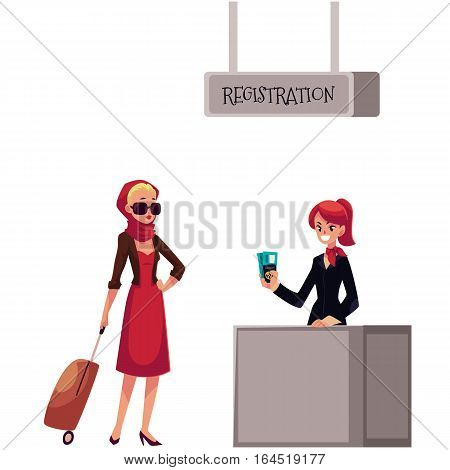 Line to airport check-in, passenger and baggage registration desk, cartoon vector illustration isolated on white background. girl waiting for check in, luggage drop, baggage registration in airport