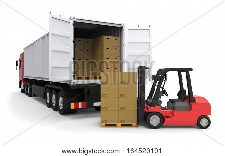 Forklift truck loading a long truck on white background 3D rendering