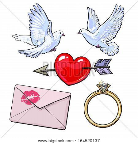 Wedding, engagement icon set with doves, arrow pierced heart, golden ring and love letter, sketch style vector illustration isolated on white background. Wedding attributes - doves, ring, heart, kiss