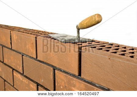 The brickwork is trowel bricklayer tool. construction work
