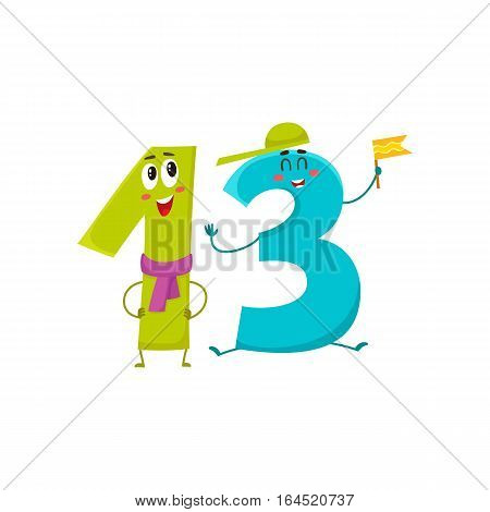 Cute and funny colorful 13 number characters, cartoon vector illustration isolated on white background. thirteen smiling characters, birthday greetings, anniversary