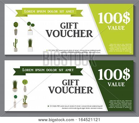 Gift Voucher Template with Green Plant in flowerpot. Discount Coupon. Vector Illustration. EPS10