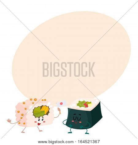 Two cute and funny Japanese nori, seaweed roll characters, cartoon vector illustration on background with place for text. Couple of smiling seaweed, nori roll characters, Asian cuisine