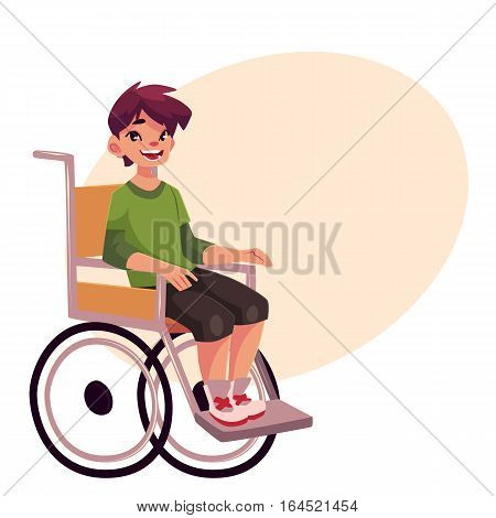 Portrait of happy school kid sitting in wheelchair, cartoon vector illustration on background with place for text. Disabled teenaged boy sitting in wheelchair, living with disability concept