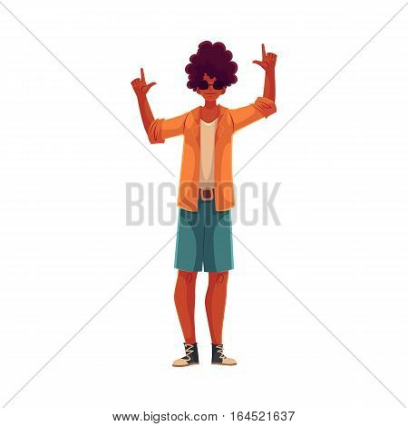 Young african american man dancing, cartoon style vector illustration isolated on white background. Young and beautiful black man, teenager, boy dancing at a party in skirt and t-shirt