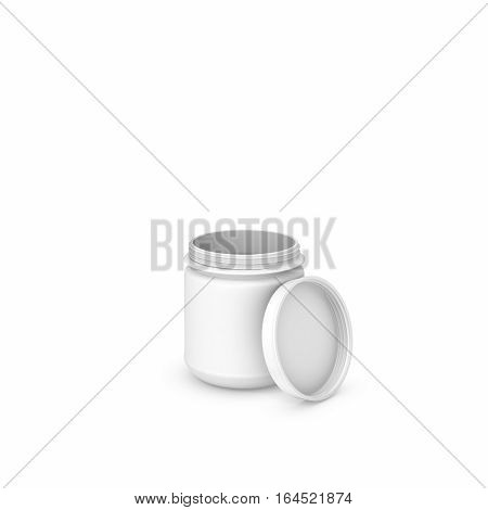 3d rendering of white blank opened round can isolated on the white background. Kitchen things. Storage equipment. Unknown content.