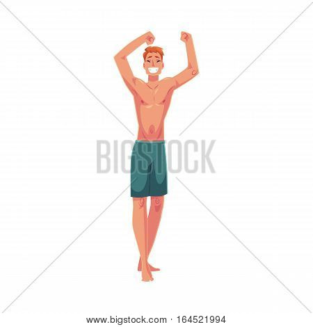 Young red haired athletic man in swimming shorts dancing, cartoon style vector illustration isolated on white background. Young and handsome red haired man dancing at a beach party in shorts