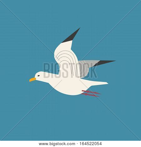 Sea gull icon. Freehand cartoon style. Flying seagull bird logo. Seabird marine symbol isolated. Stylized nautical animal emblem. Element project banner background. Vector design advertisement label