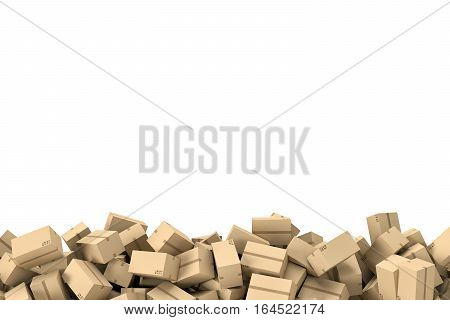 3d rendering of a frame made of light beige cardboard mail boxes lying at the bottom of white background. Postal services. Packing and crating. Storage of different products. Compartments for packages.