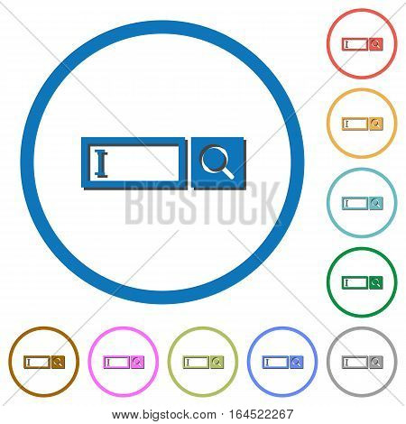 Search box flat color vector icons with shadows in round outlines on white background