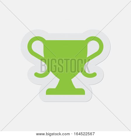 simple green icon with light gray contour and shadow - sports cup on a white background