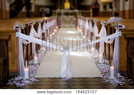 Beautiful Church Decorated For Wedding Ceremony