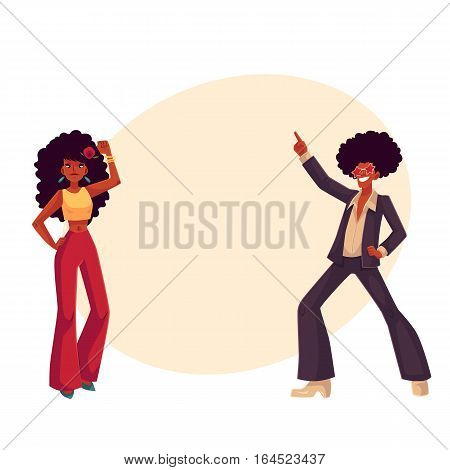 Man and woman with afro hair and 1970s style clothes dancing disco, cartoon style vector illustration on background with place for text. Young man and woman in flares with african black hair